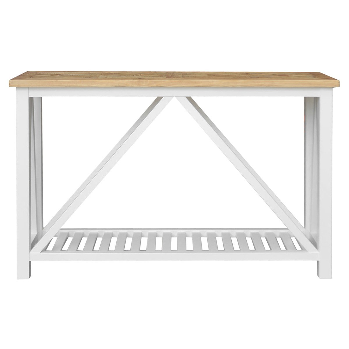 Avista Parquetry Top Recycled Timber Console Table, 140cm, Natural / White