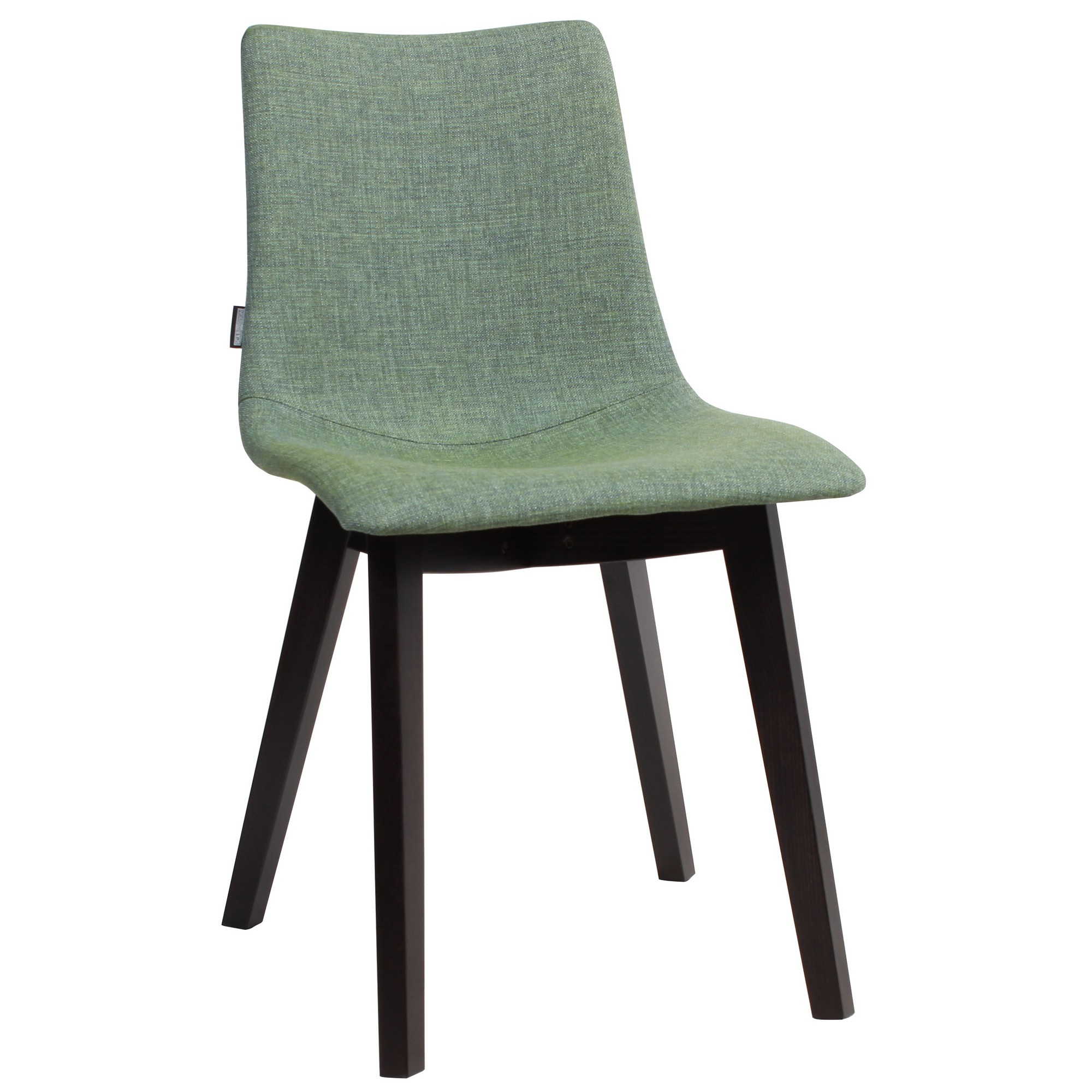 Zebra Pop Italian Made Commercial Grade Fabric Dining Chair, Timber Leg, Jade / Wenge