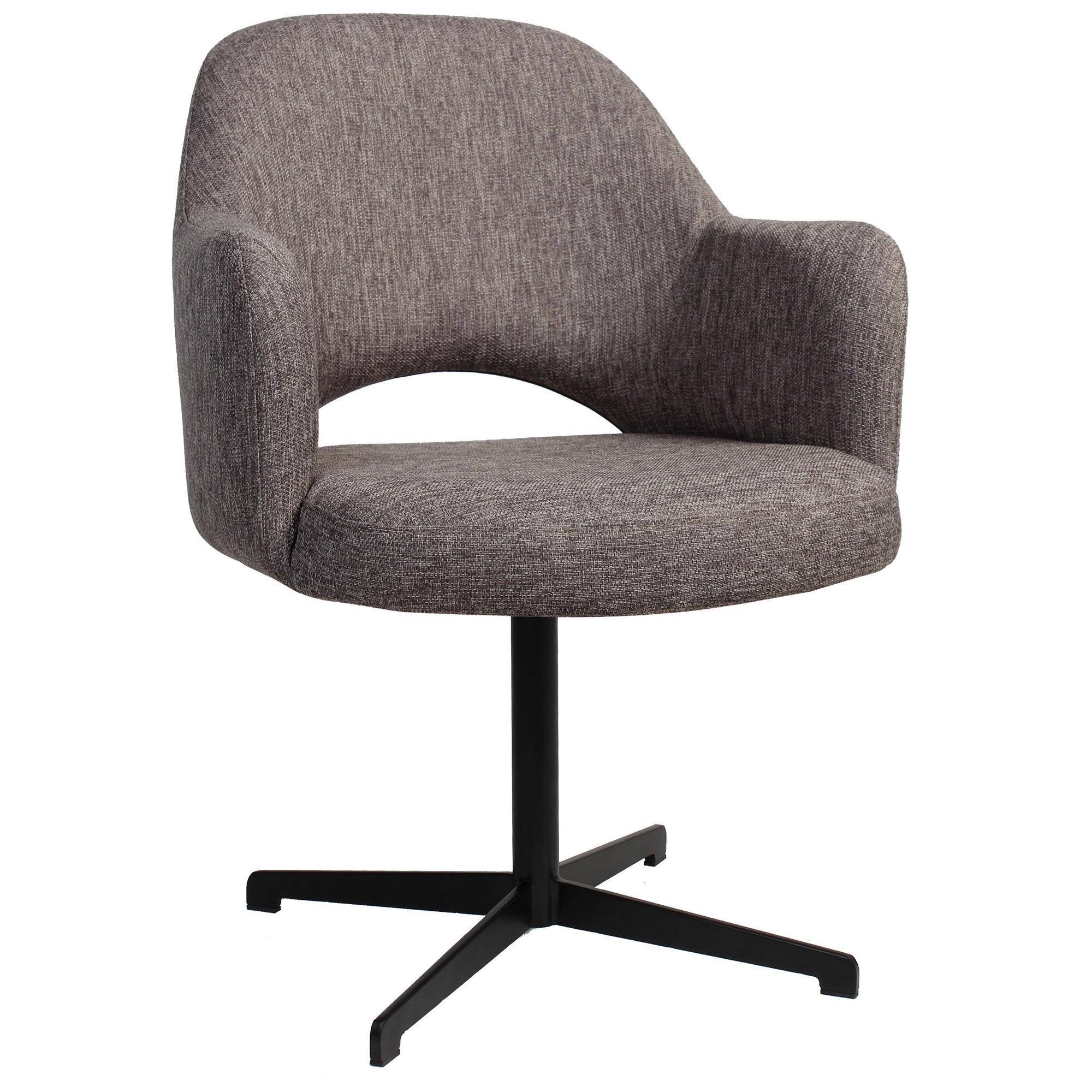 Albury Commercial Grade Fabric Dining Armchair, Metal Blade Leg, Ash Grey / Black