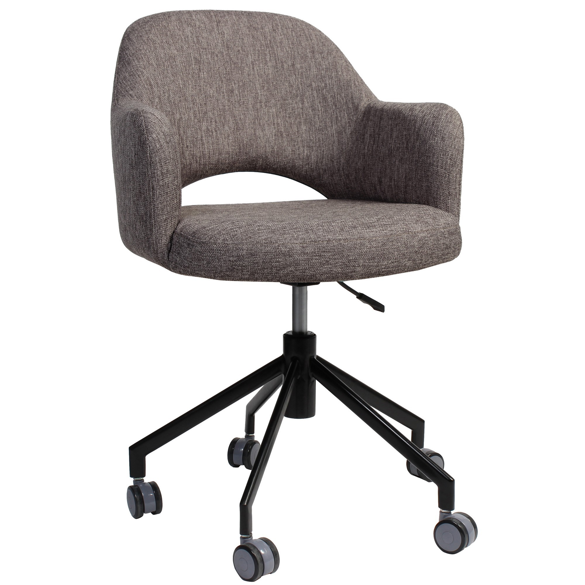 Albury Commercial Grade Gas Lift Fabric Office Armchair, Ash Grey / Black