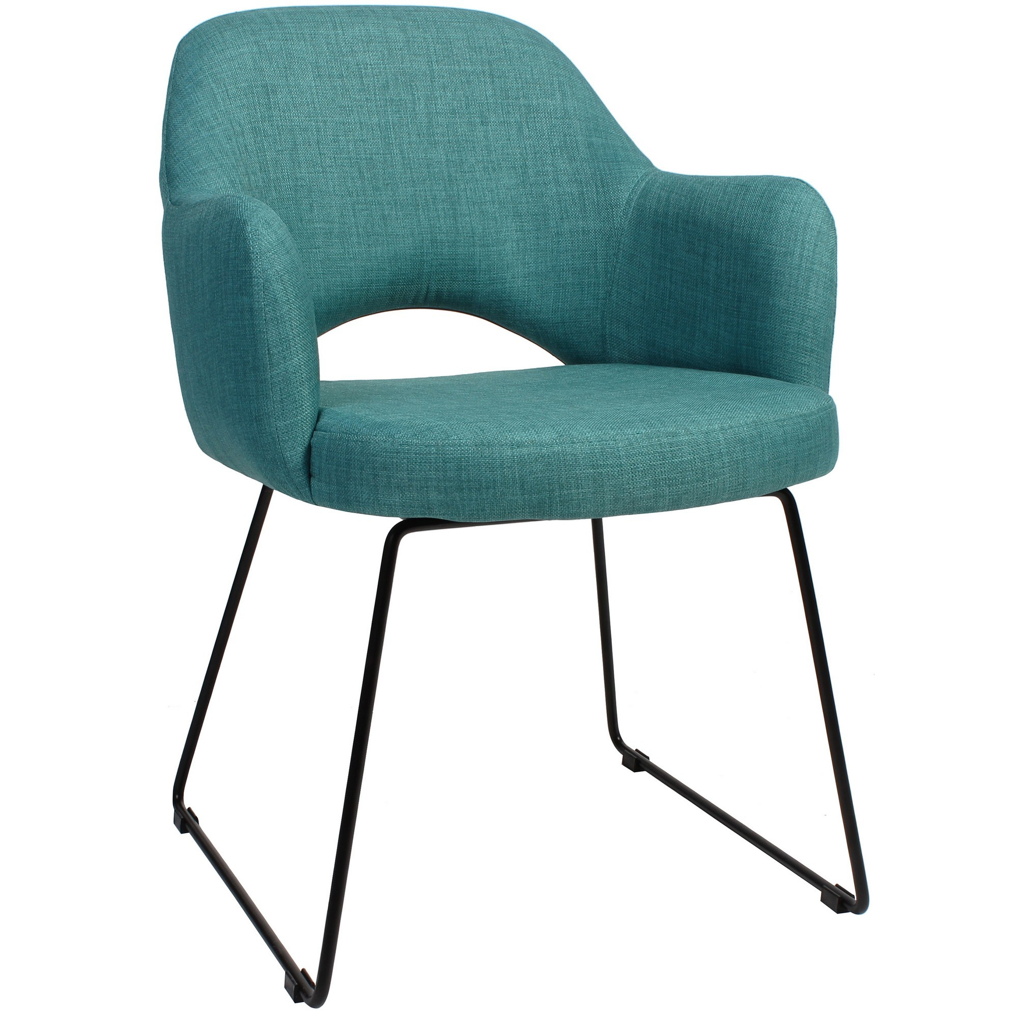 Albury Commercial Grade Fabric Dining Armchair, Metal Sled Leg, Teal / Black