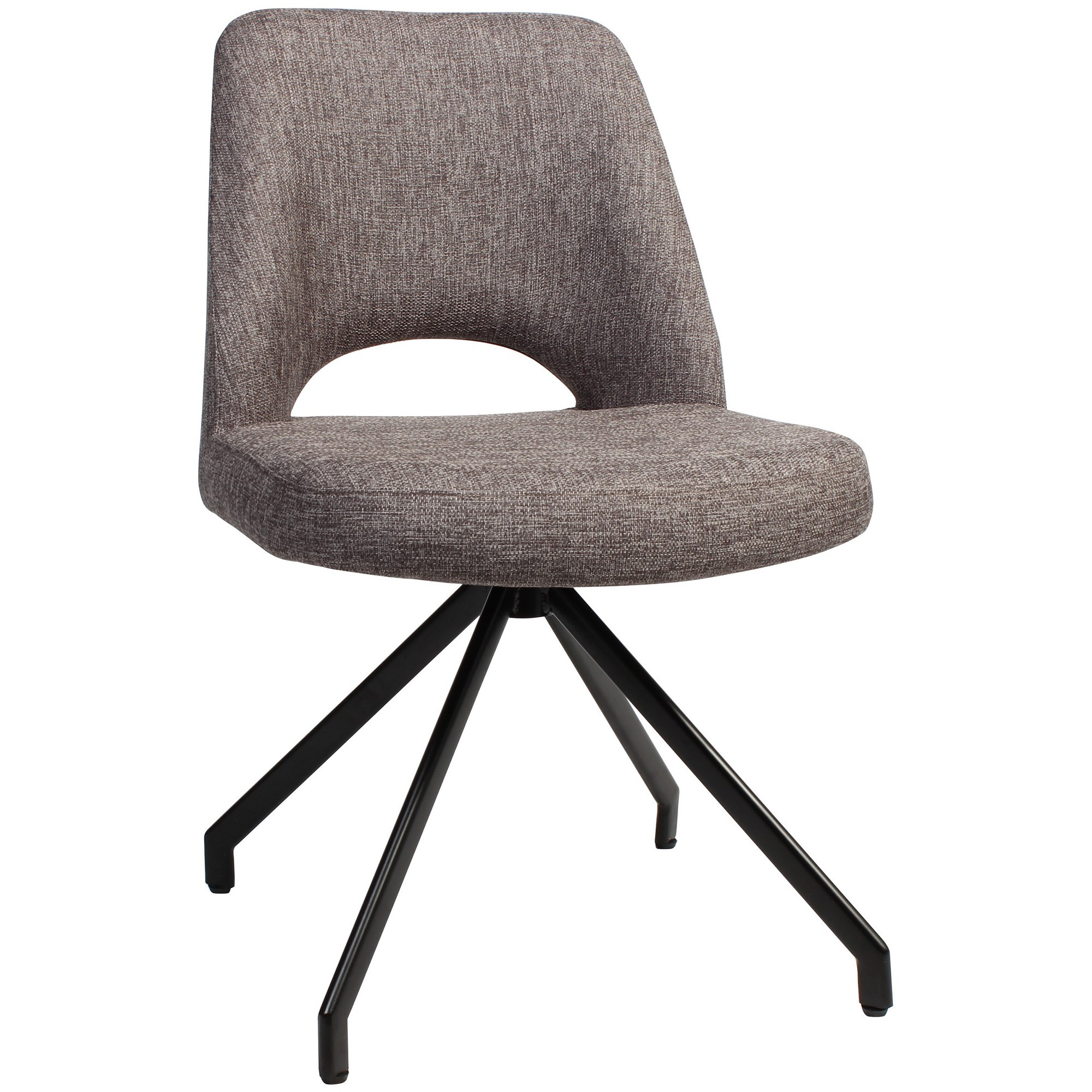 Albury Commercial Grade Fabric Dining Chair, Metal Trestle Leg, Ash Grey / Black