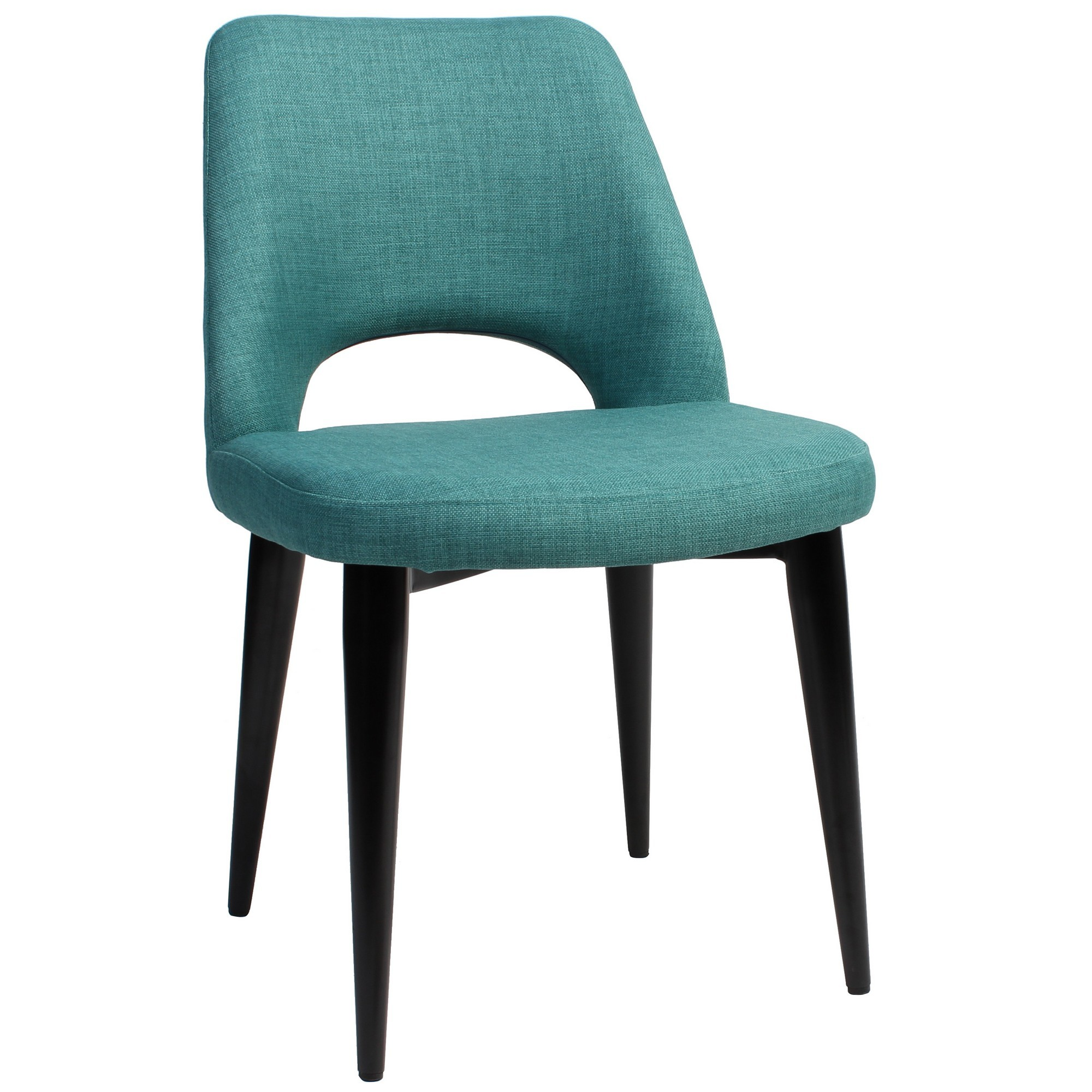 Albury Commercial Grade Fabric Dining Chair, Metal Leg, Teal / Black