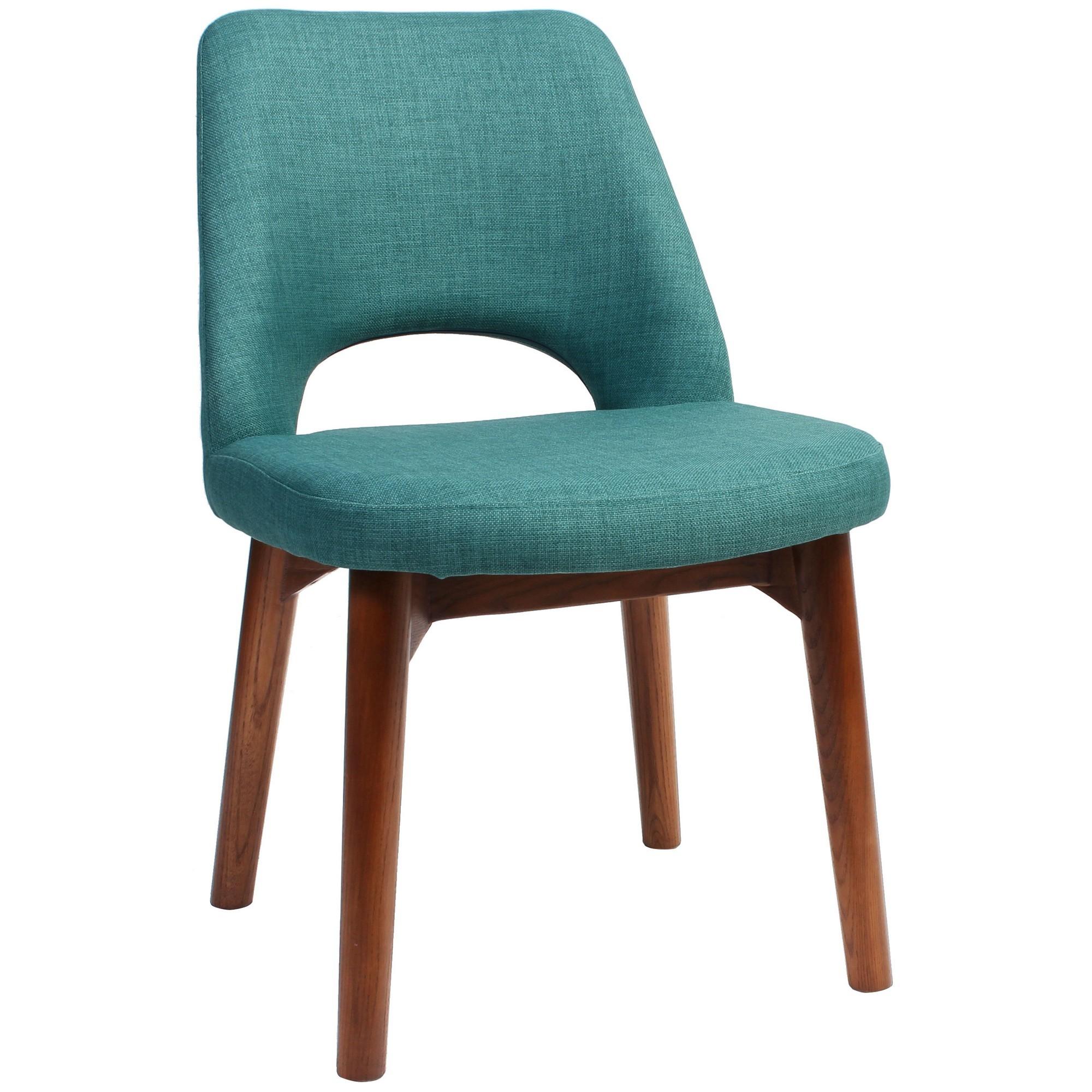 Albury Commercial Grade Fabric Dining Chair, Timber Leg, Teal / Light Walnut