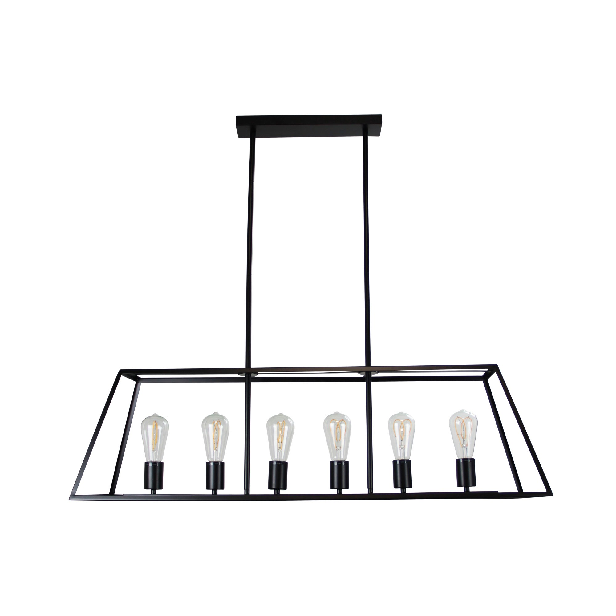 Southport Metal Urban Retro Pendant Light, 6 Light, Black