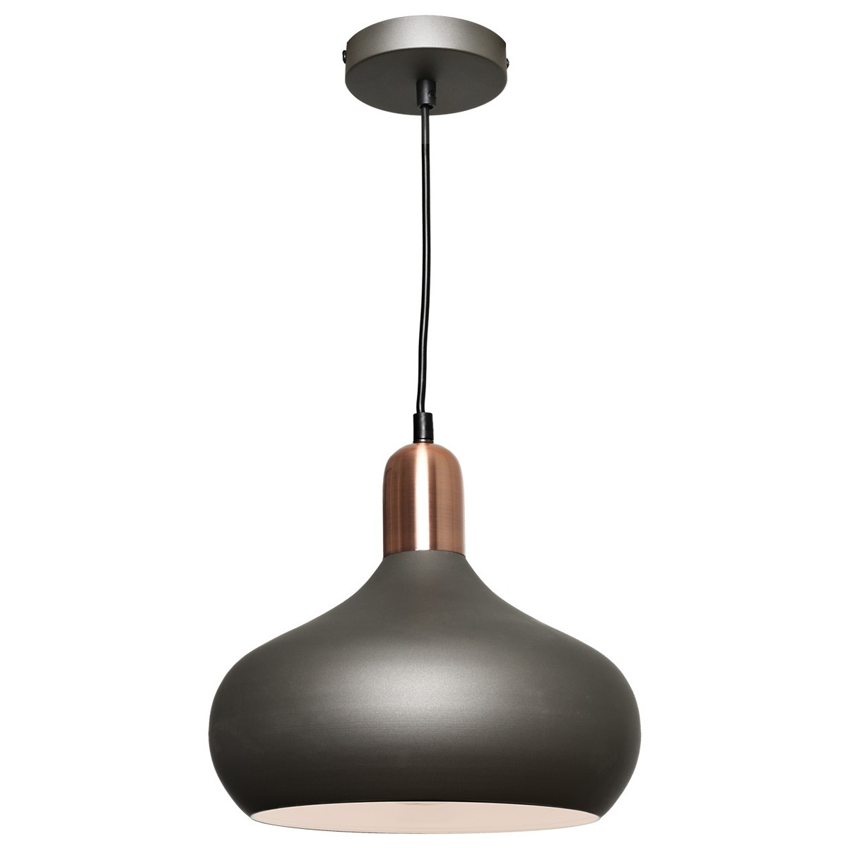 Bevo Metal Pendant Light, Bowl, Charcoal / Copper