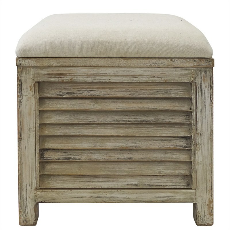 Noyes Slatted Timber Storage Stool with Linen Seat