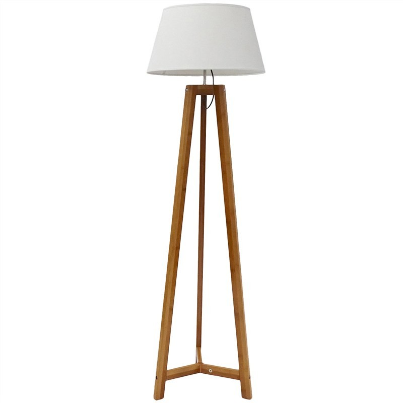 Alida Bamboo Floor Lamp with White Linen Shade