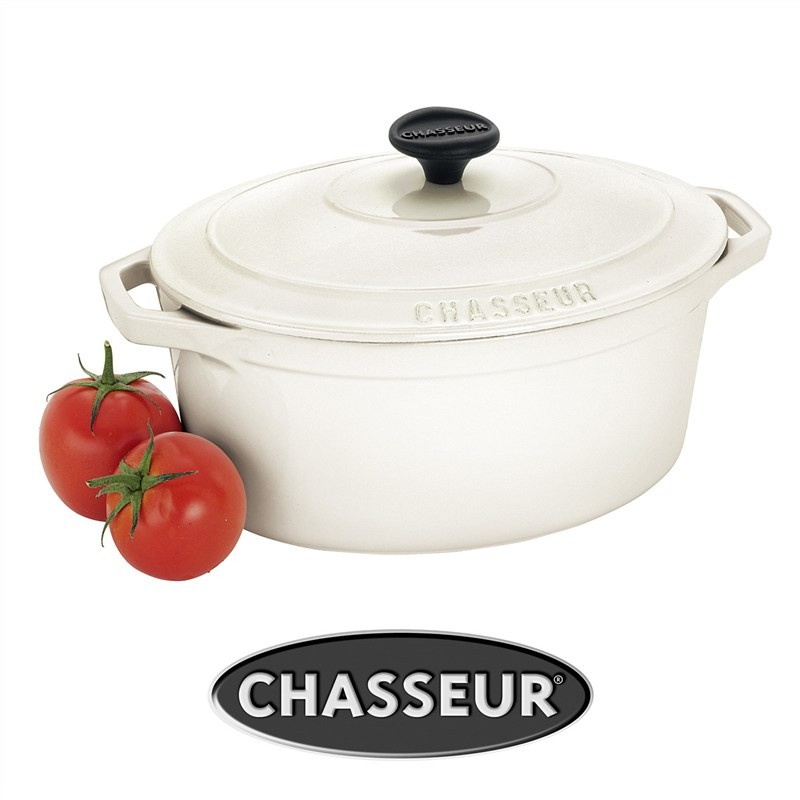 Chasseur Cast Iron 25cm Oval French Oven - Brilliant White