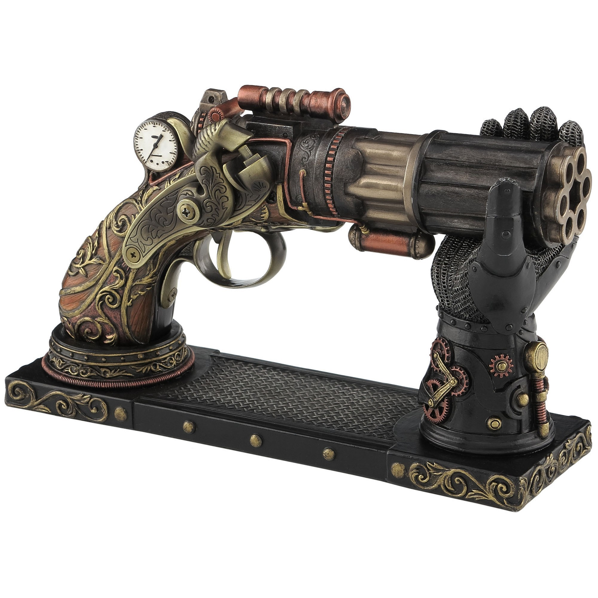 Veronese Cold Cast Bronze Coated Steampunk Statue, Six Barrel Pistol