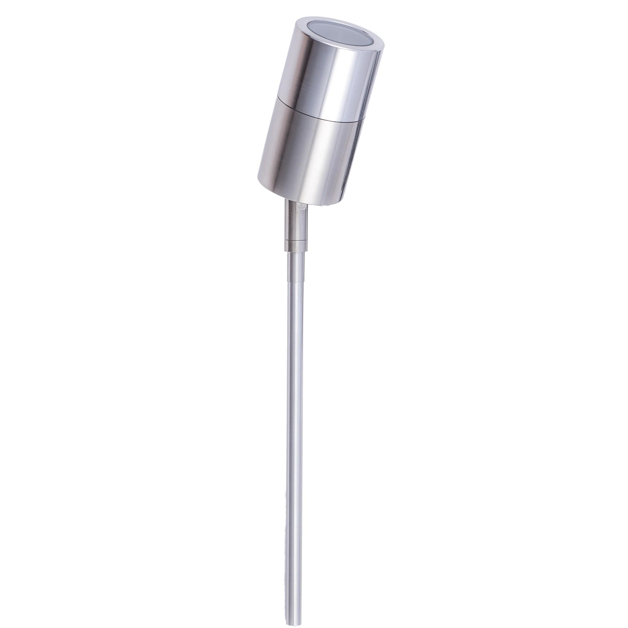 Roslin IP65 Exterior Single Adjustable Spike Garden Light, Long Light, Stainless Steel