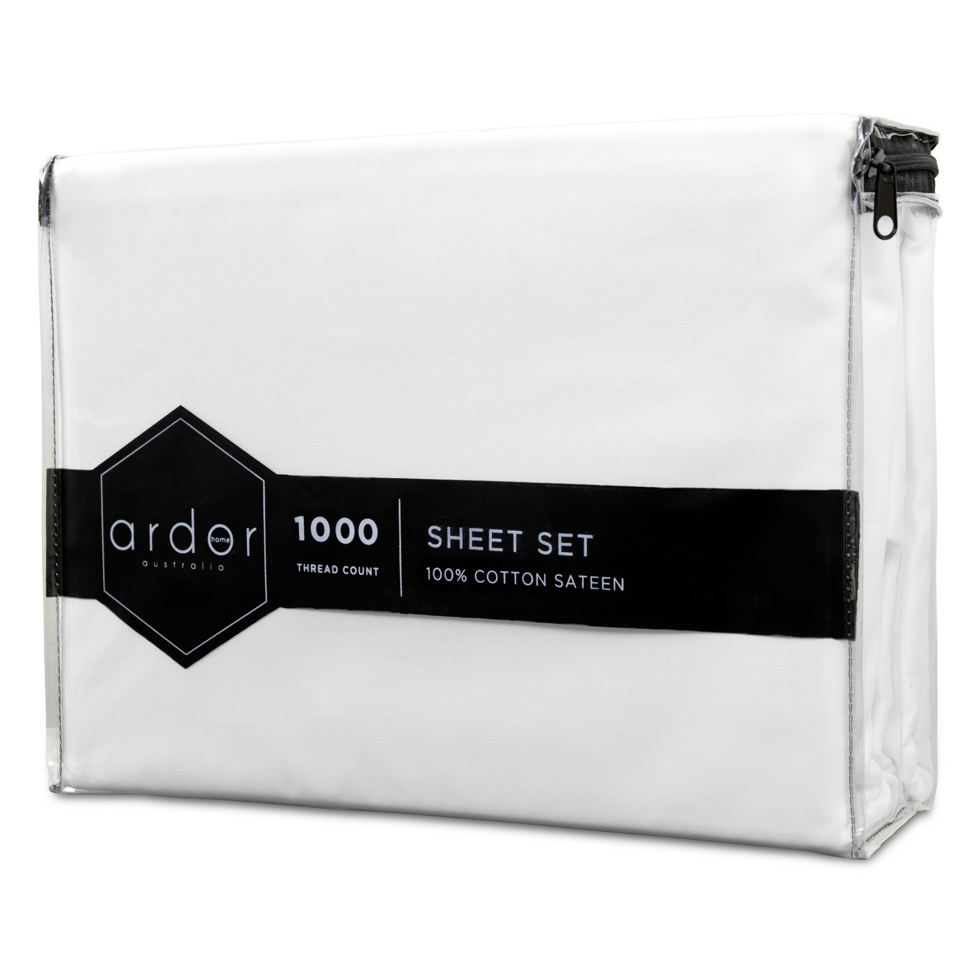 Ardor 1000TC Cotton Sateen Bed Sheet Set, King, White