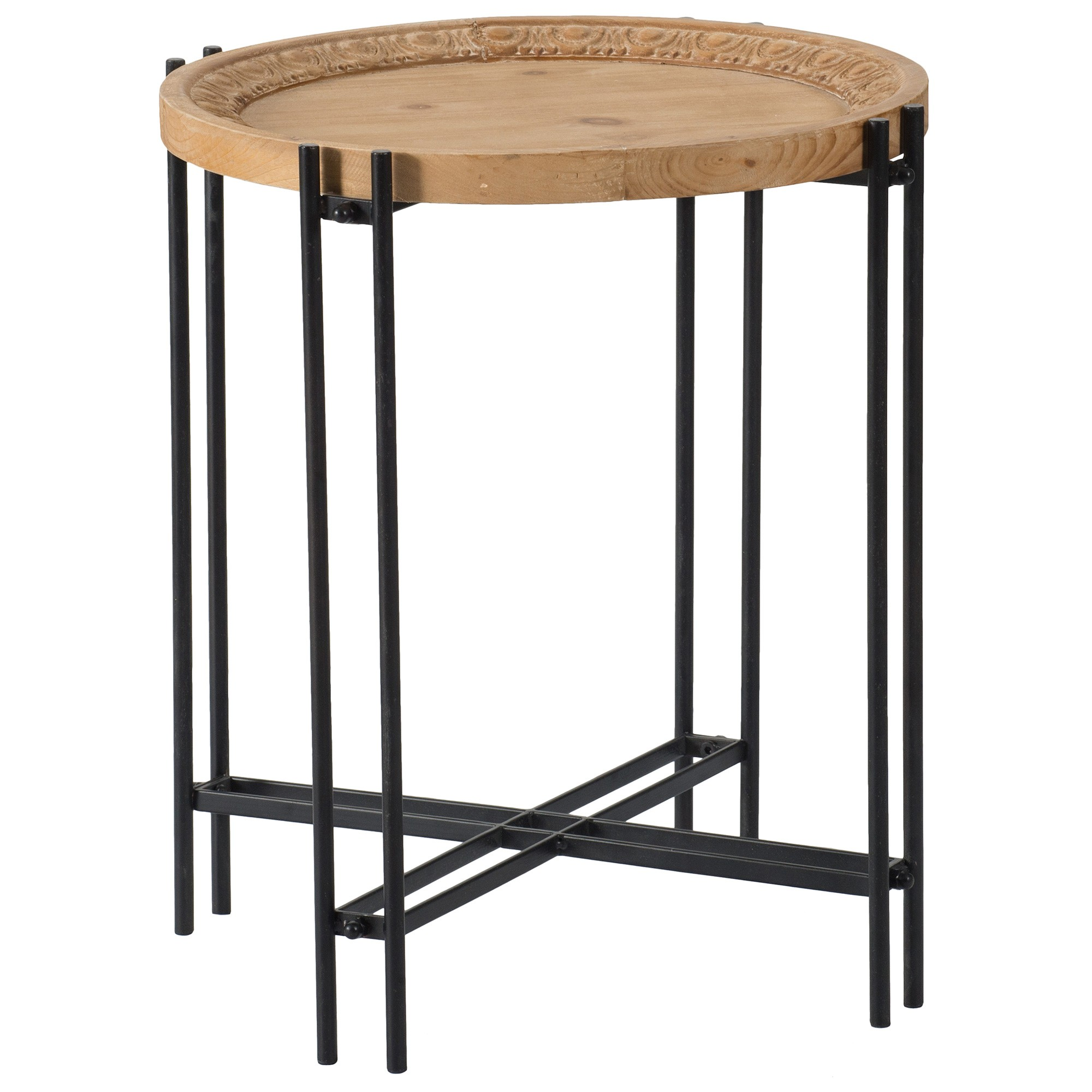 Bella Fir Timber Topped Metal Round Side Table