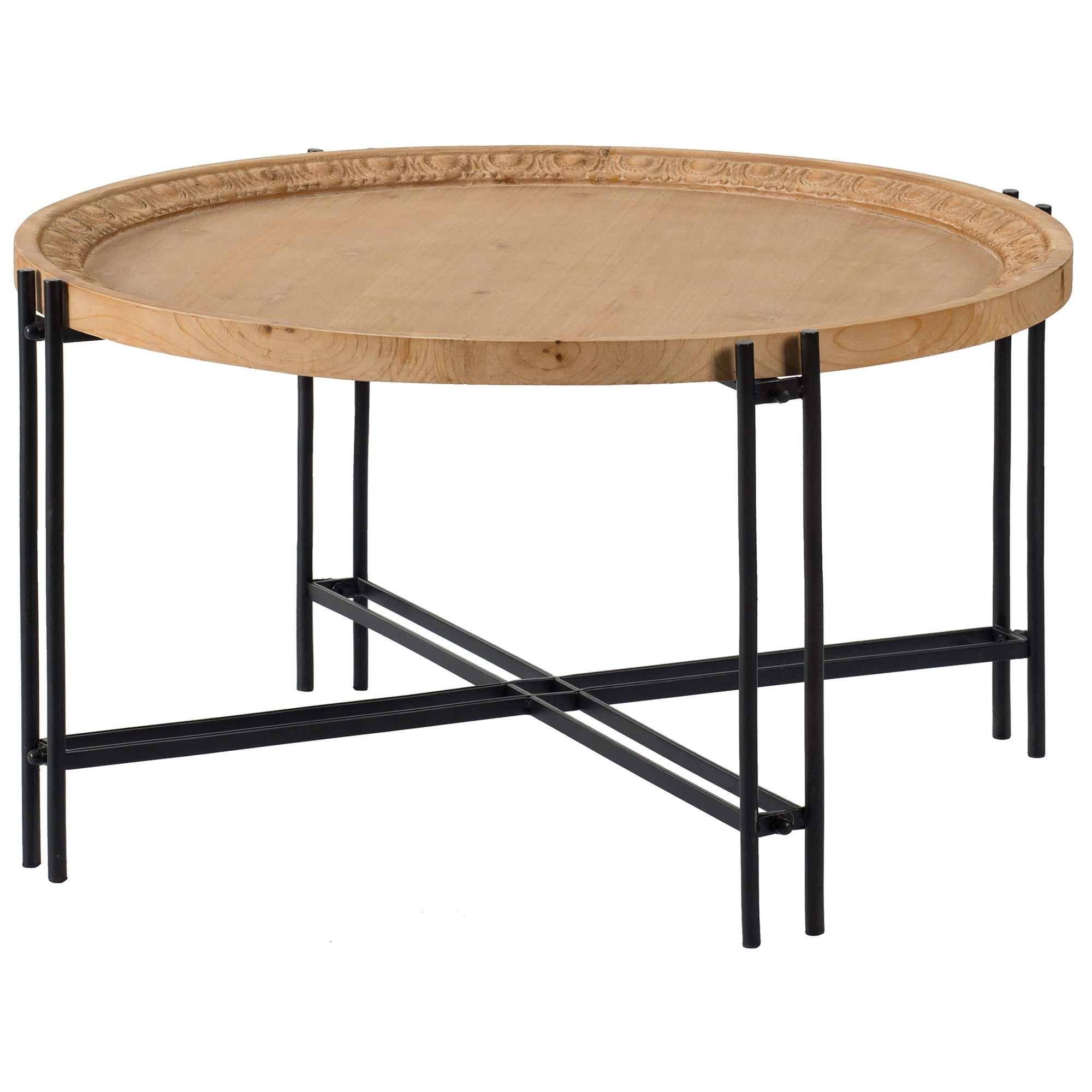 Bella Fir Timber Topped Metal Round Coffee Table, 80cm