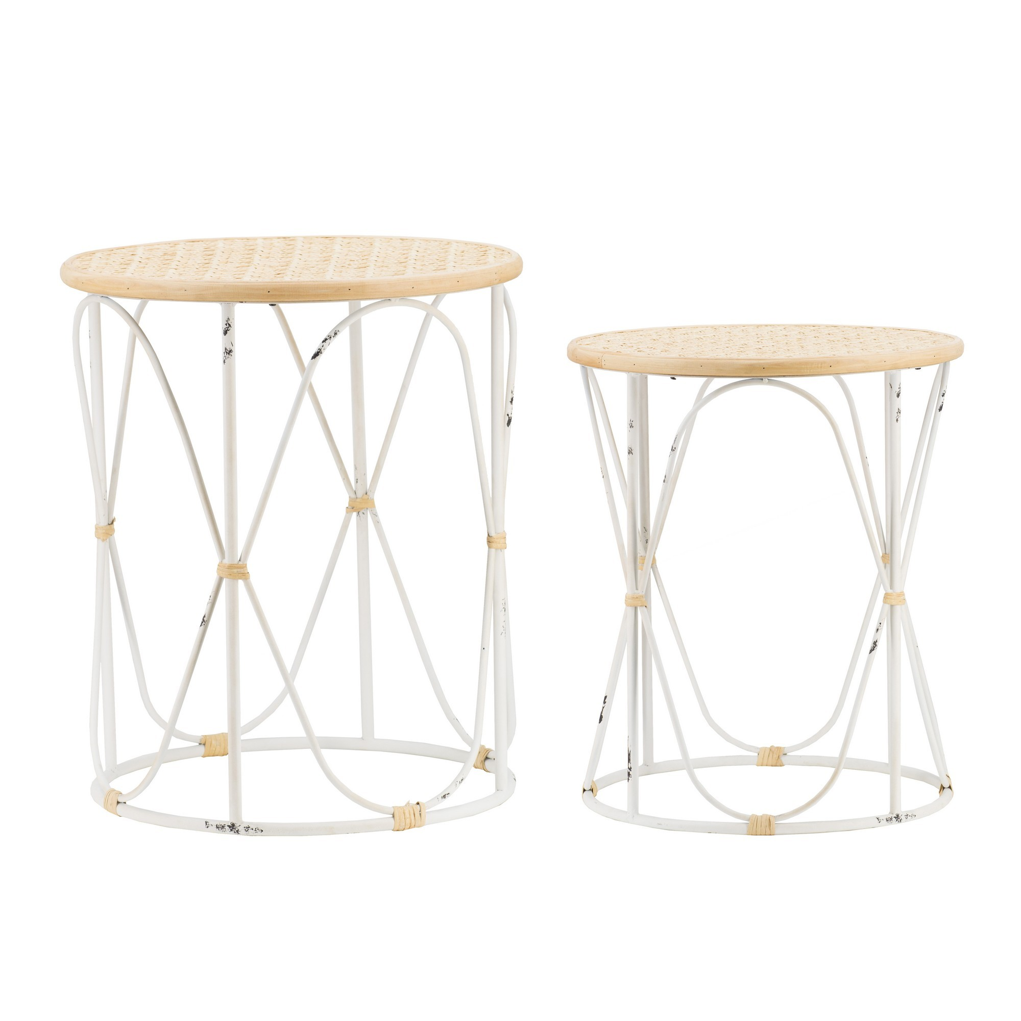 Aspall 2 Piece Bamboo Rattan & Iron Round Side Table Set