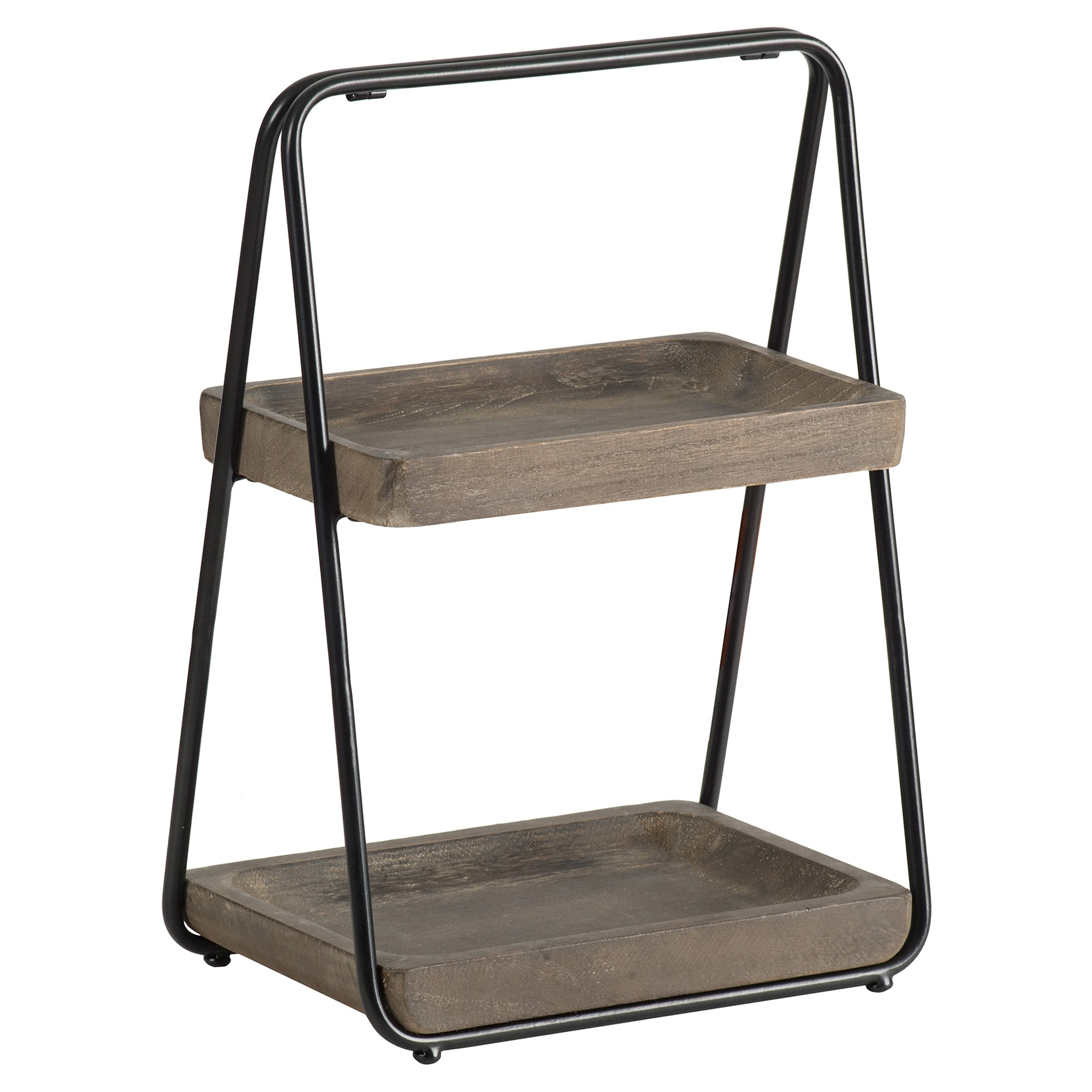 Mercator Fir Timber & Metal 2 Tier Rectangular Tray Stand