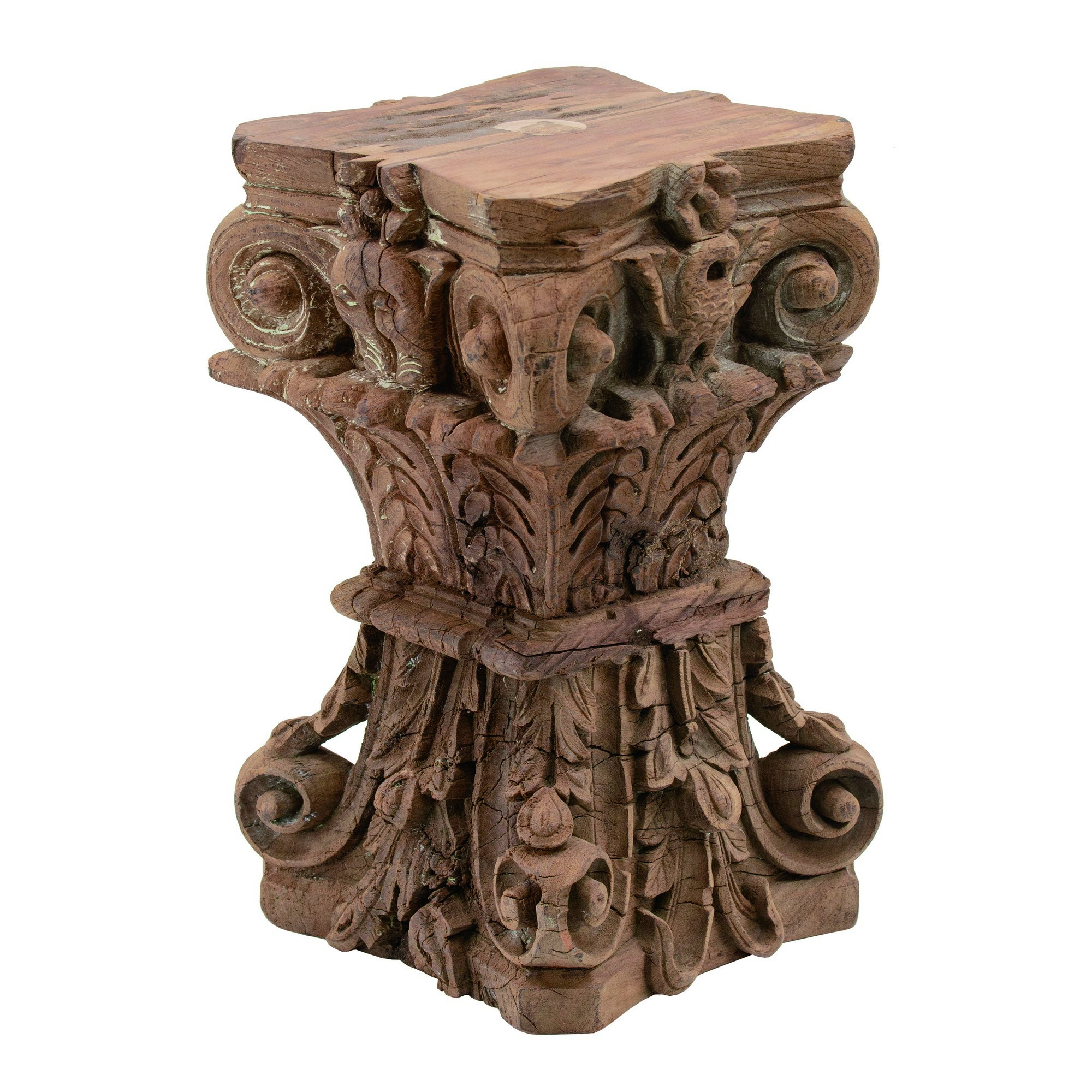 Macello Carved Timber Pillar Base Stool / Side Table