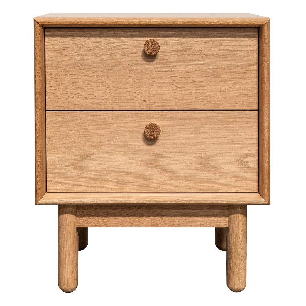 Kresten Wooden 2 Drawer Bedside Table, Oak