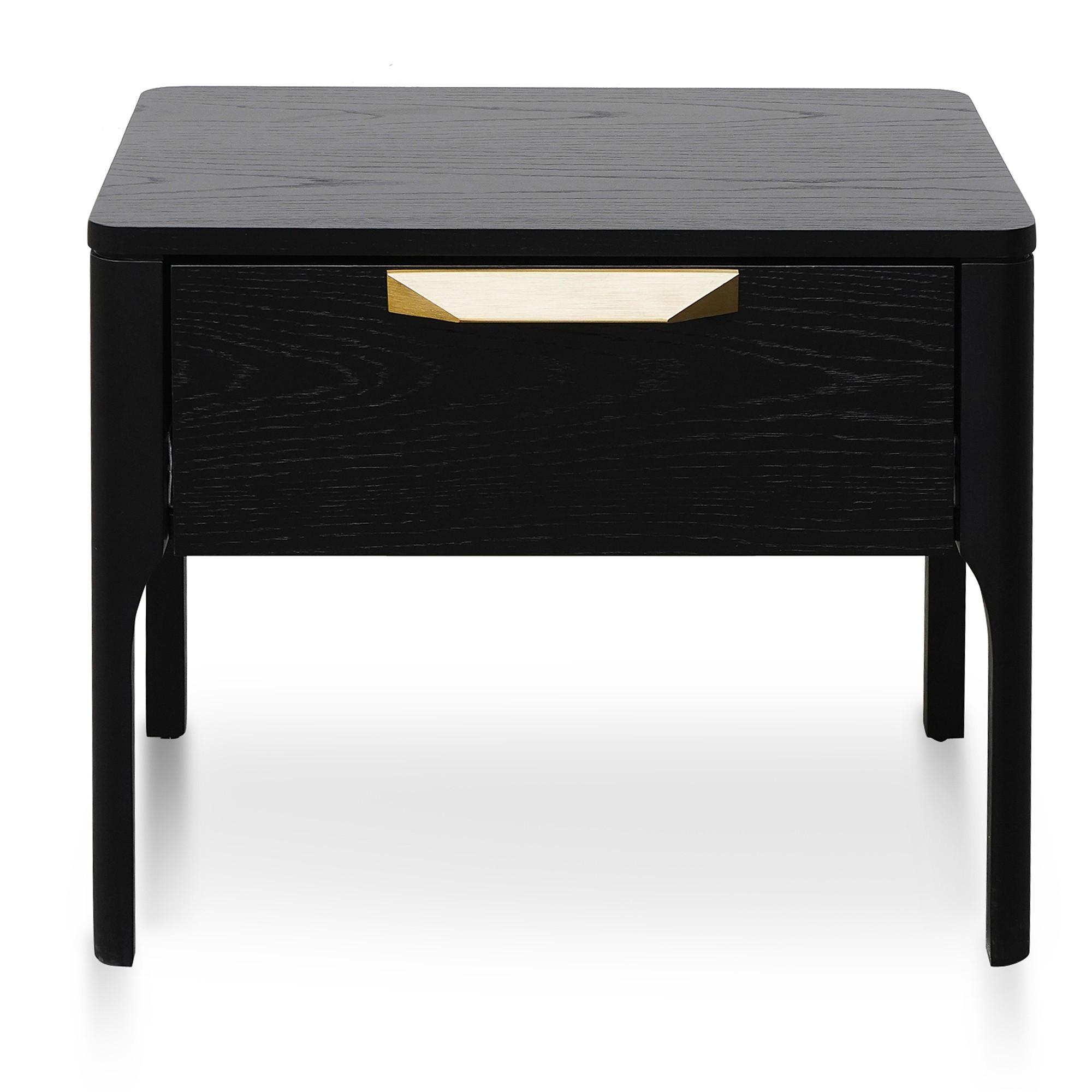 Rognan Wooden Bedside Table, Black