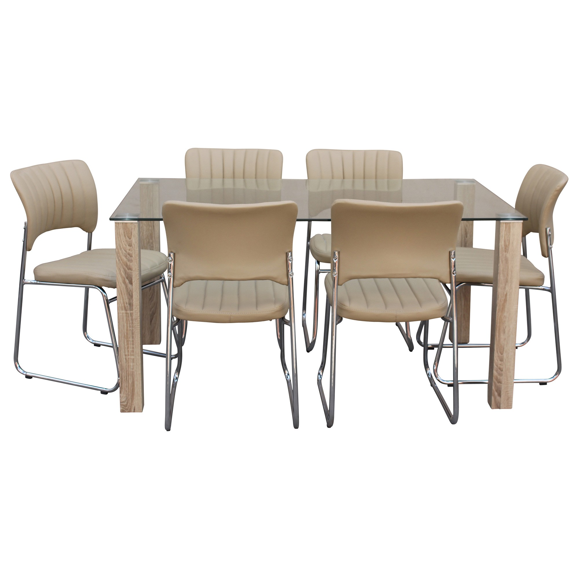 Emilio 7 Piece Glass Top Dining Table Set, 160cm, Cream Moritz Chair