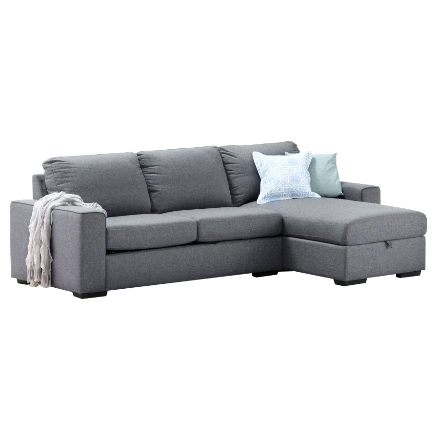 Metro Commercial Grade Fabric Corner Sofa Bed, 2 Seater with RHF Storage Chaise, Grey