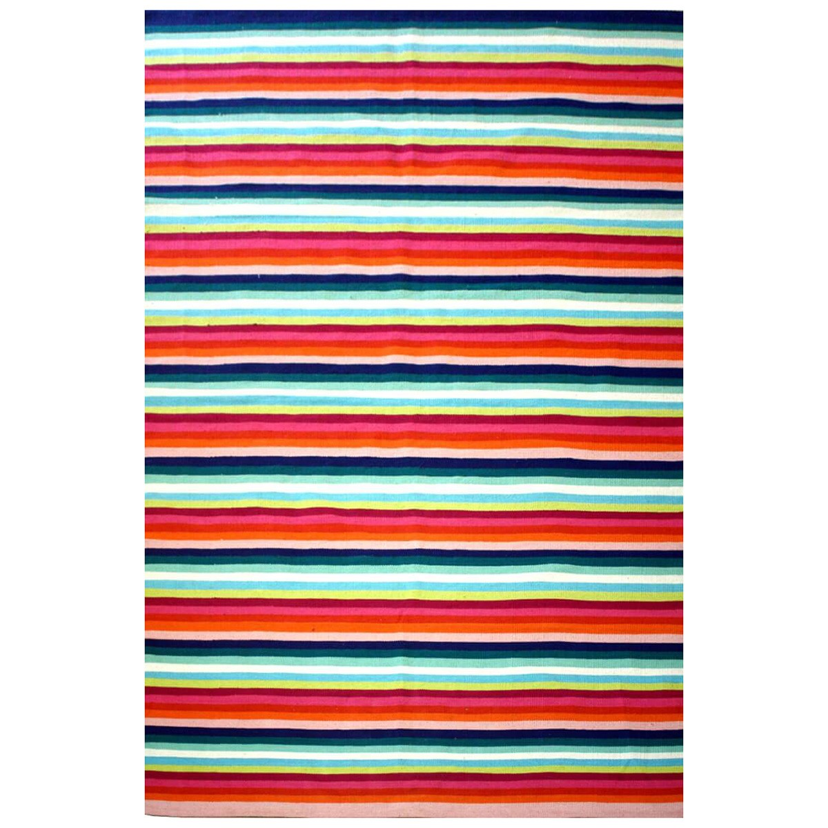 Ghadamian Stripes No.003 Cotton Rug, 165x115cm