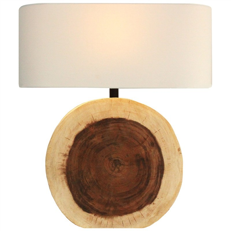 Circular Solid Timber Table Lamp with Oval Shade