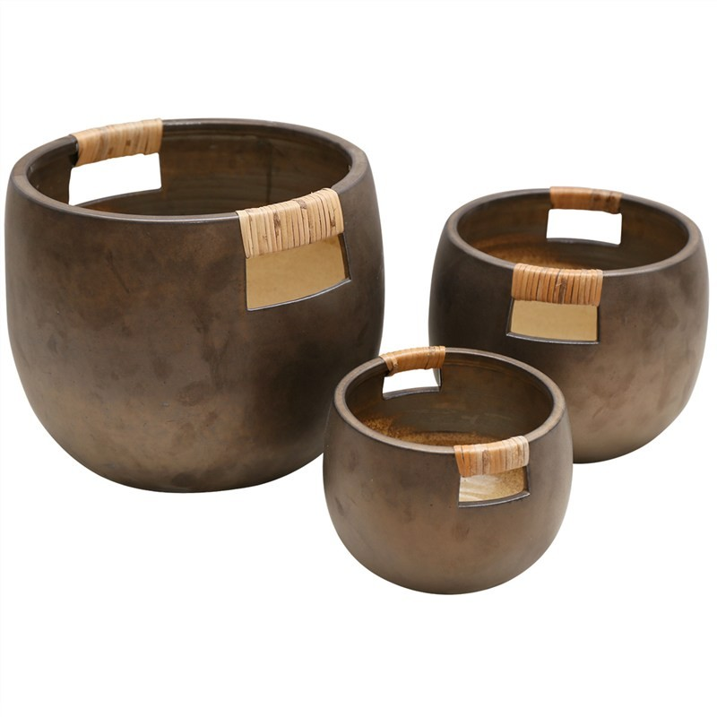 Flinn 3 Piece Hand Crafted Ceramic Pot Set with Rattan Handles