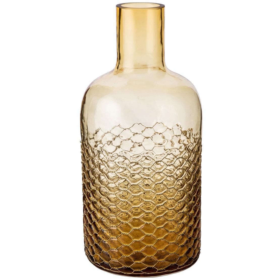 Stanley Glass Bottle Vase, Amber