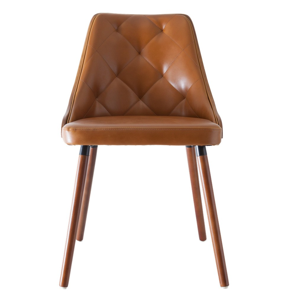 Sarah Commercial Grade Faux Leather Dining Chair, Tan