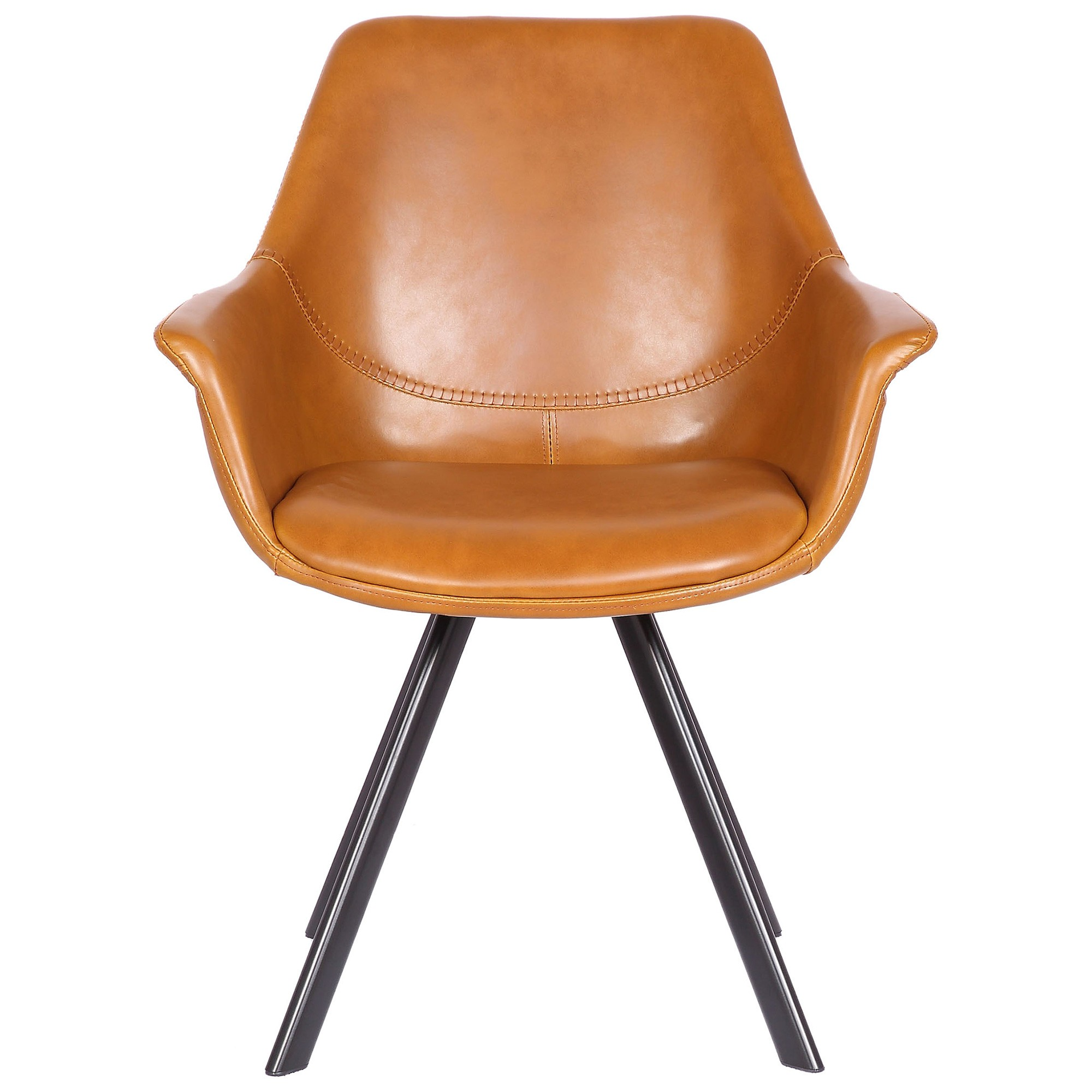 Savona Commercial Grade Faux Leather Dining Armchair, Tan