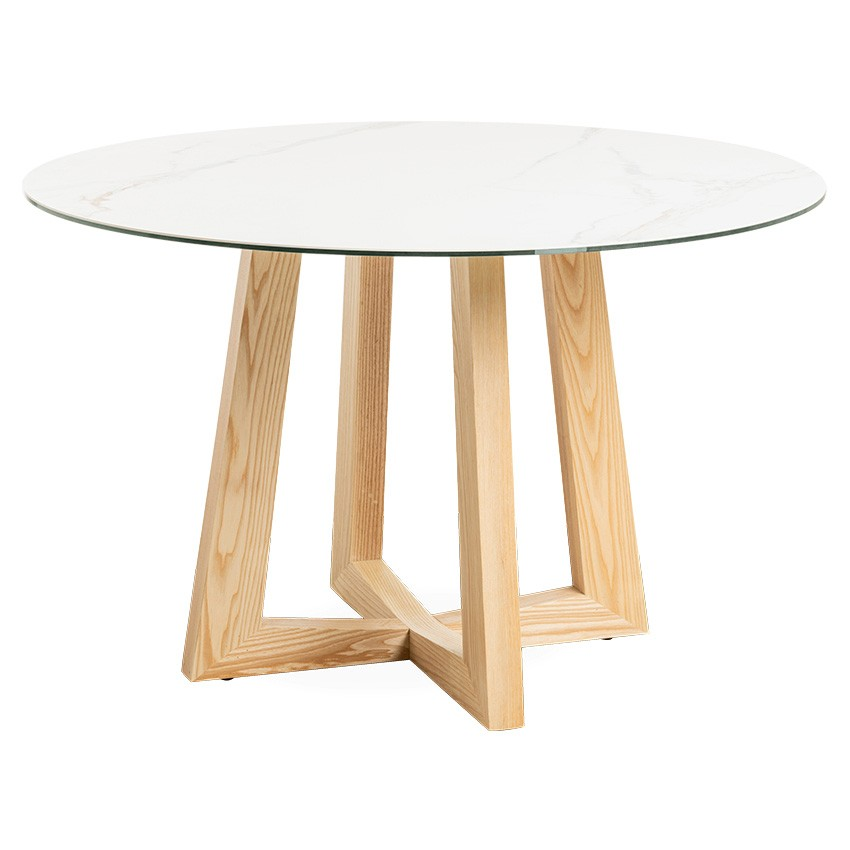 Sloan Commercial Grade Ceramic Top Round Dining Table, 120cm, White / Natural