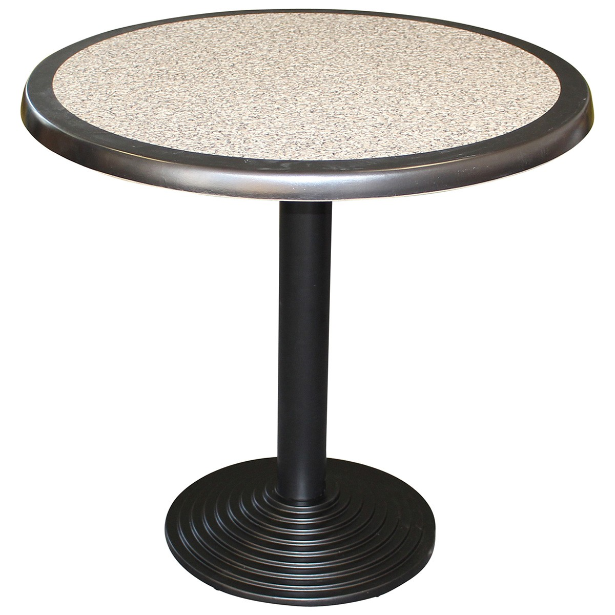 Cascina Commercial Grade Round Dining Table, 80cm, Pebble / Black