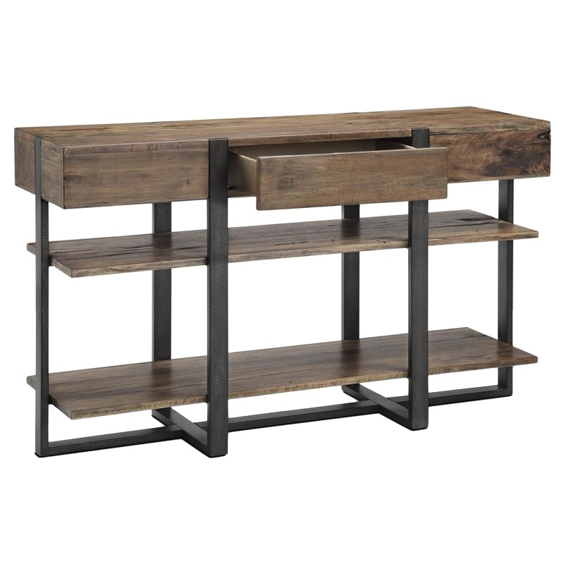 Prescott Reclaimed Pine Timber & Metal Sofa Table, 137cm