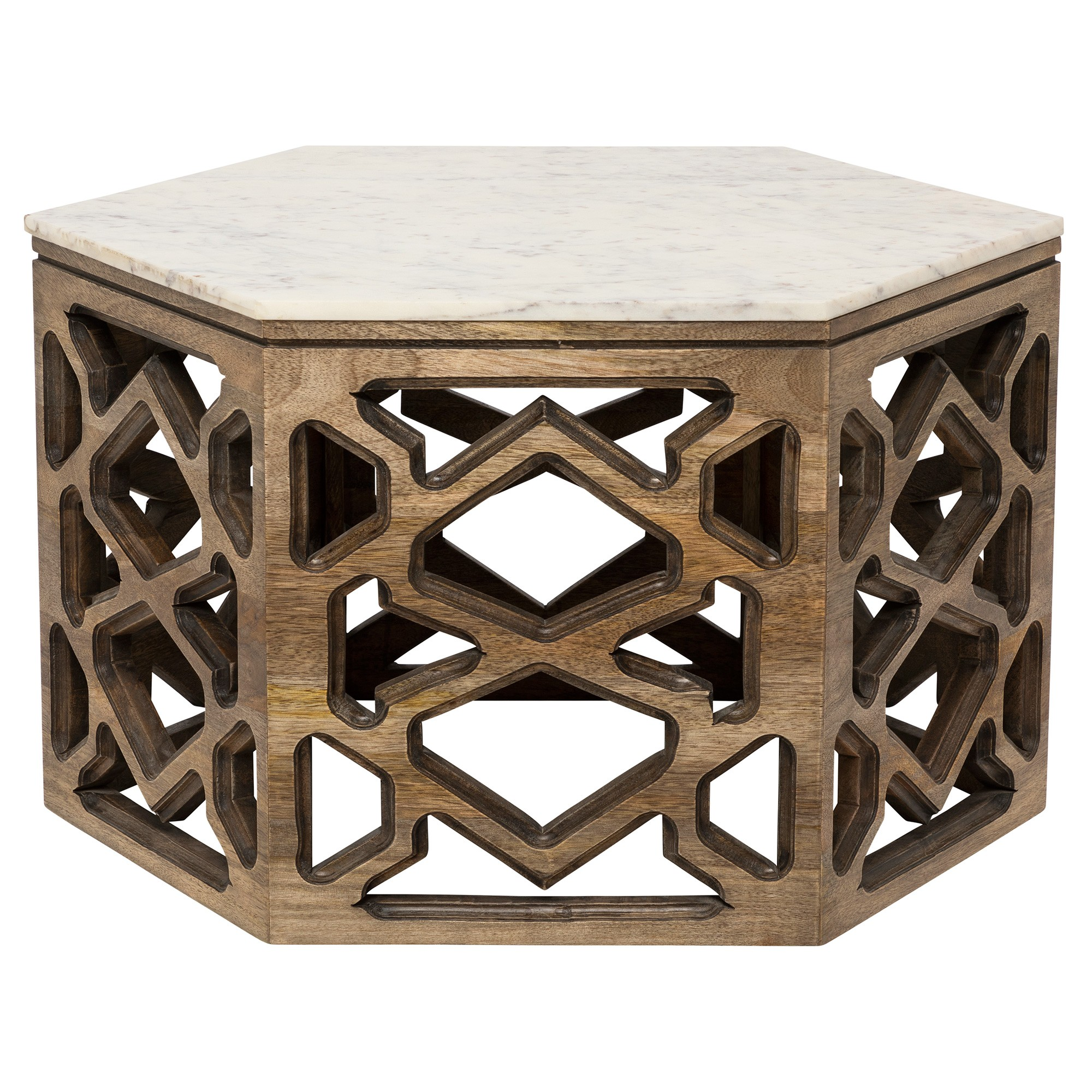 Tangier Marble Topped Teak Timber Hexagon Coffee Table, 84cm
