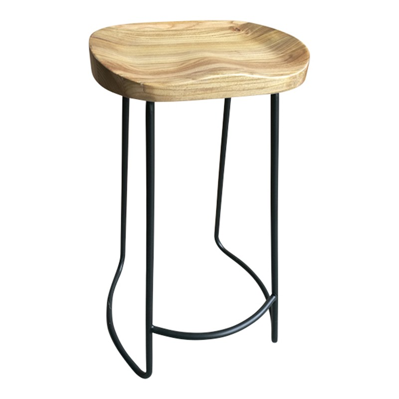 Mordale Elm & Iron Bar Stool, Natural