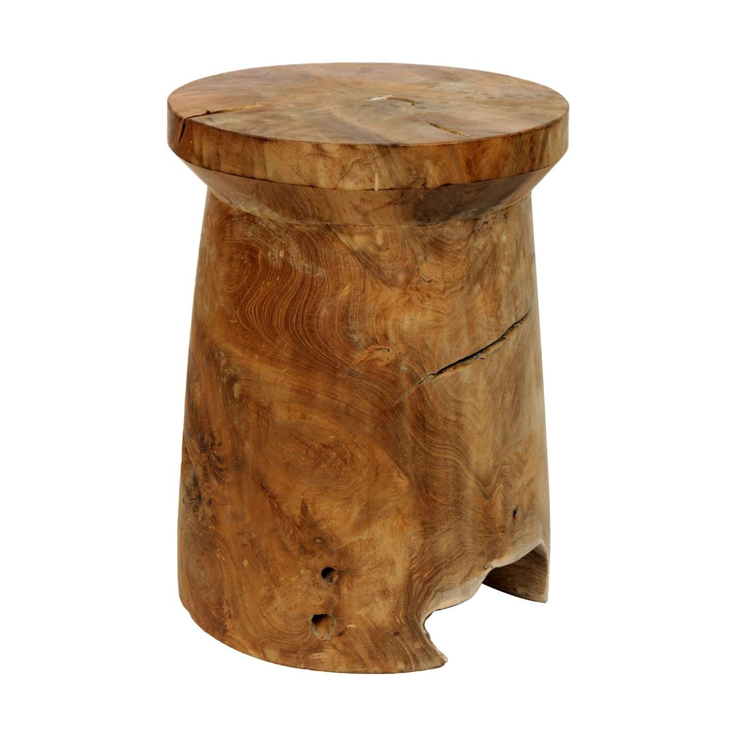 Tropica Woody Commercial Grade Reclaimed Teak Timber Mushroom Stool, Natural