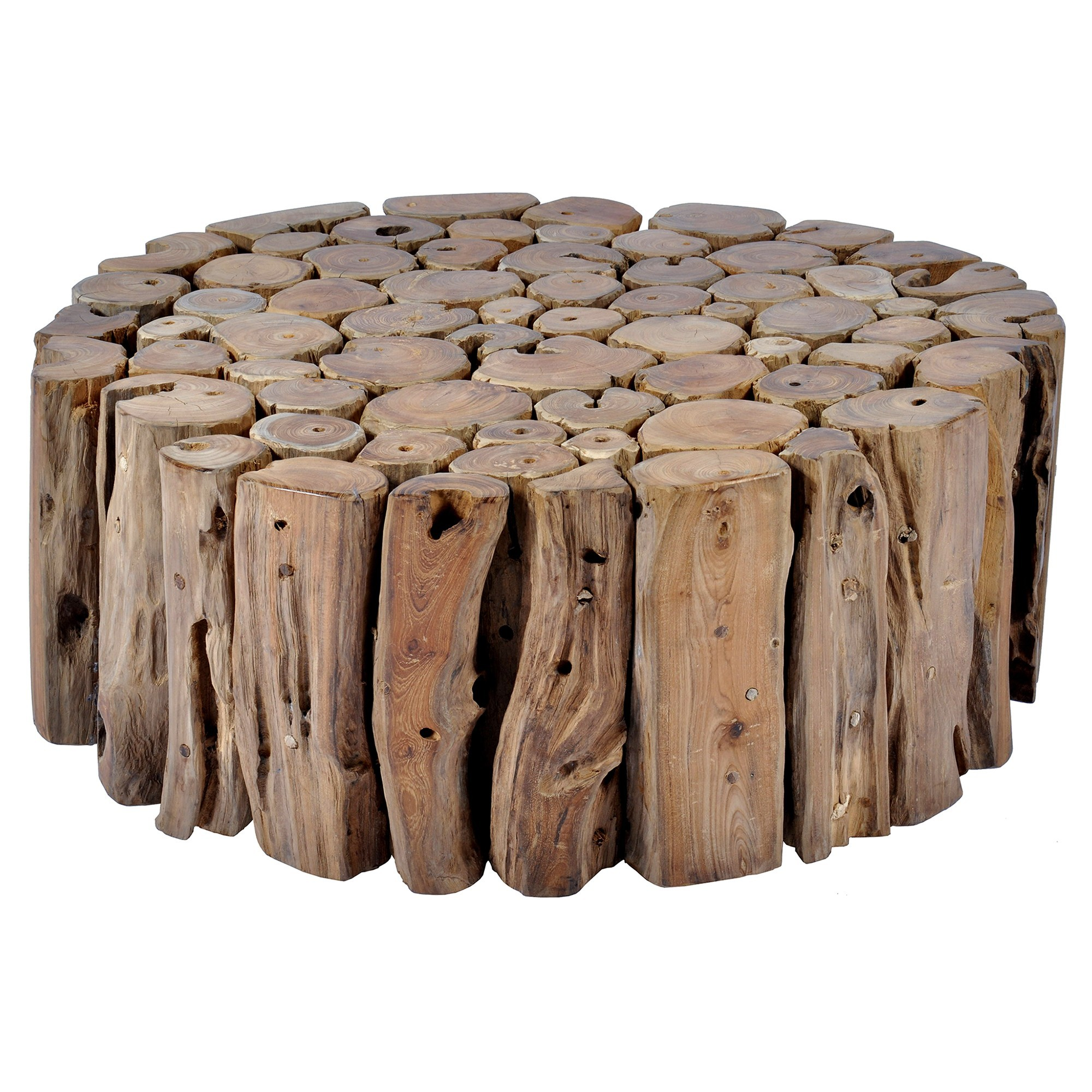 Tropica Woody Commercial Grade Reclaimed Teak Log Round Coffee Table, 80cm