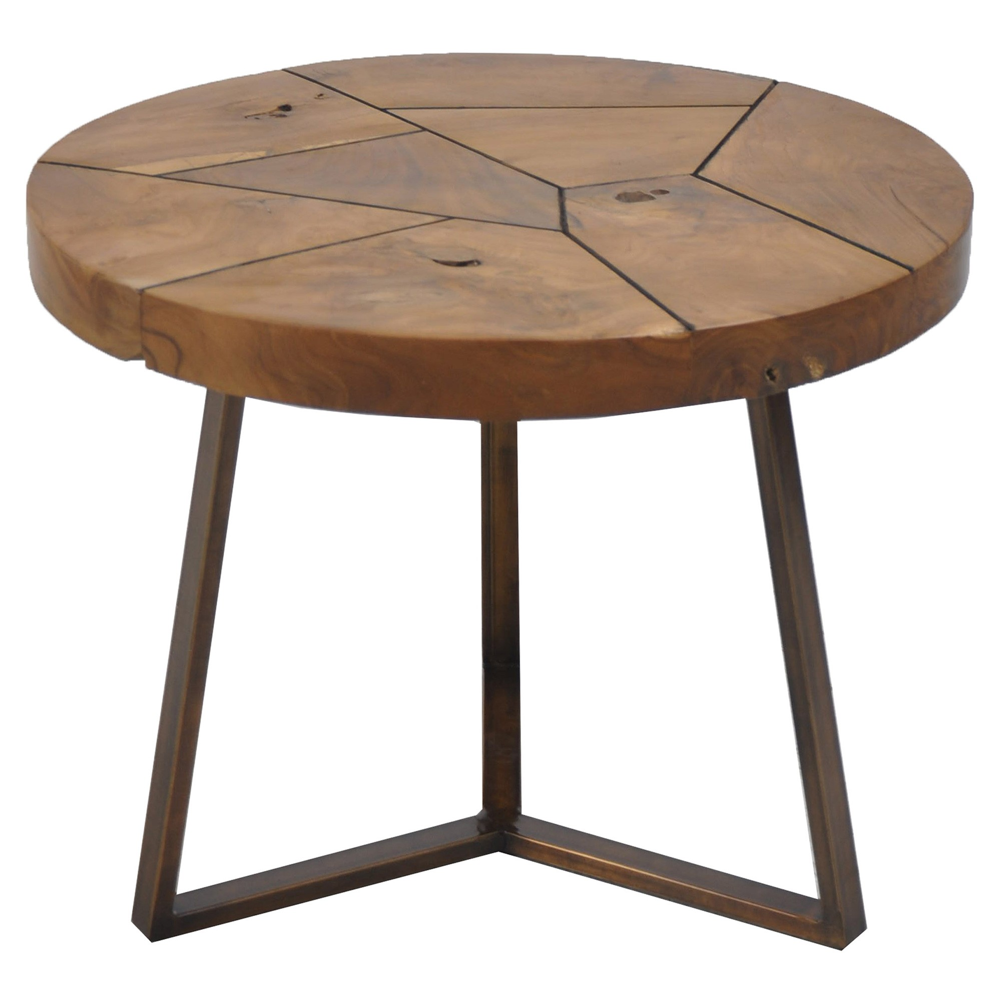 Tropica Commercial Grade Reclaimed Teak Timber & Metal Flutted Round Coffee Table, 60cm