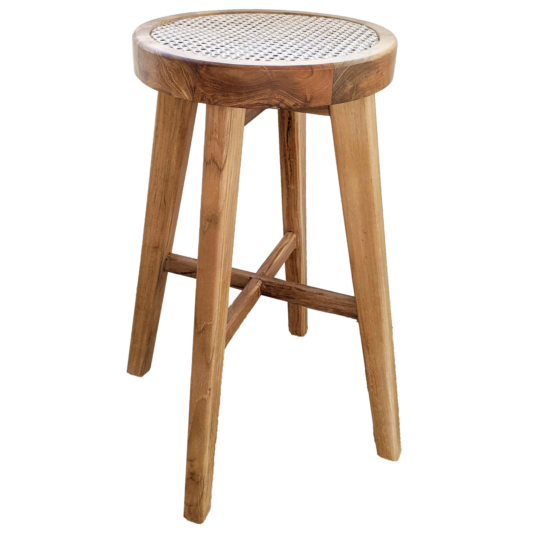 Cleo Commercial Grade Teak & Rattan Counter Stool