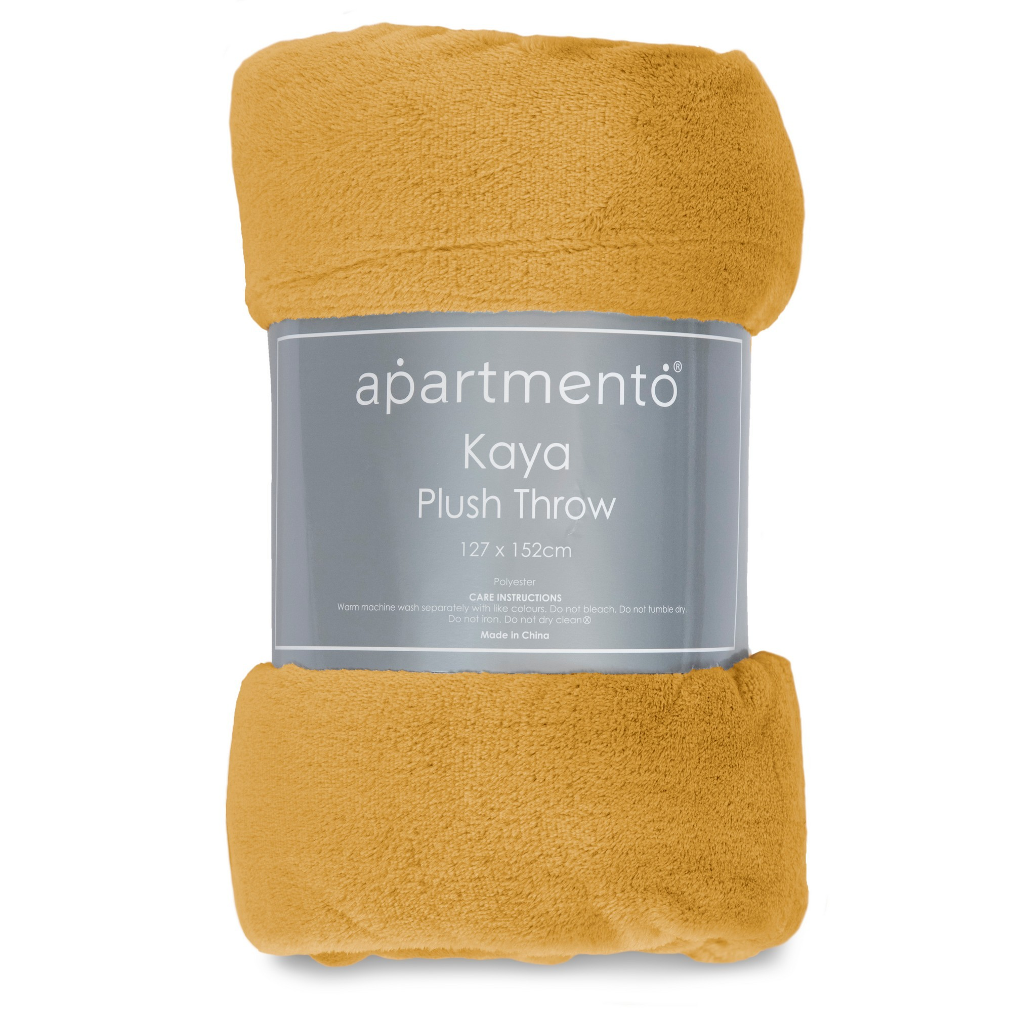 Apartmento Kaya Flannel Plush Throw, 127x152cm, Mustard