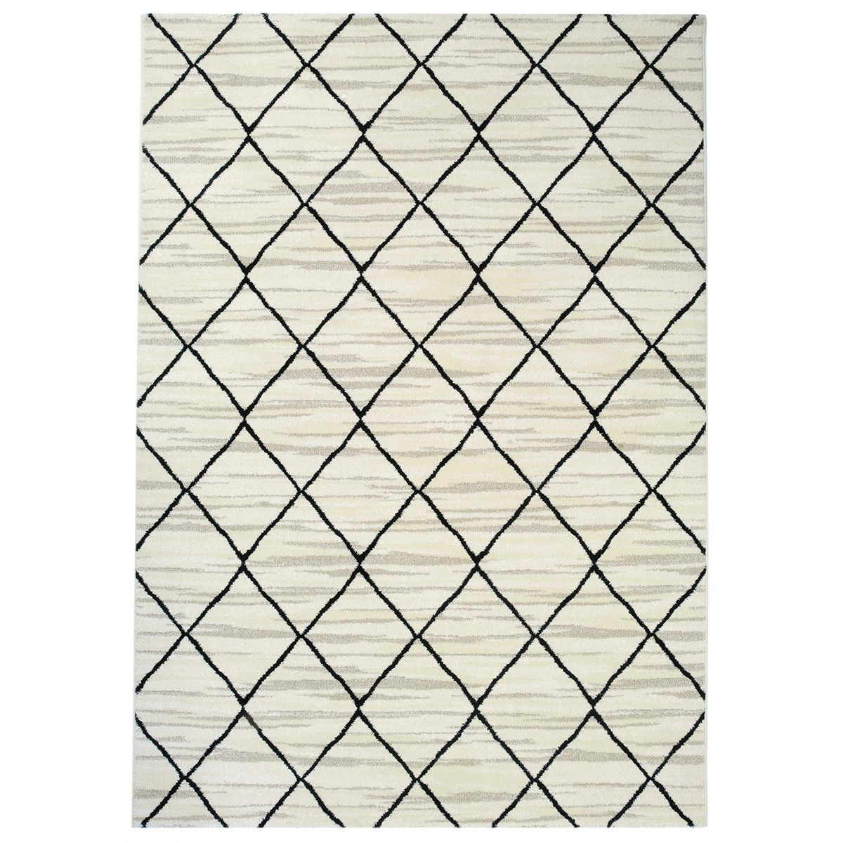 Tibet Lattice Modern Rug, 230x160cm, White/Black