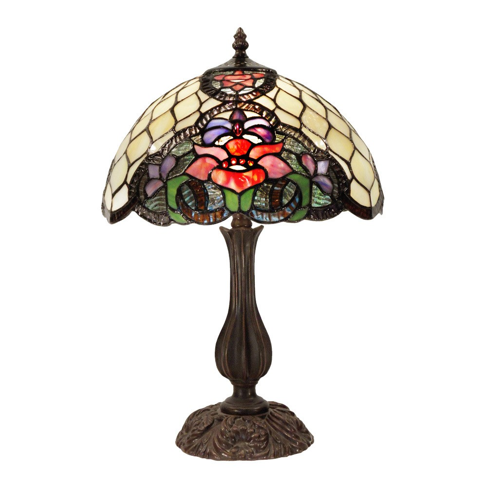 Alicia Tiffany Style Stained Glass Table Lamp, Medium
