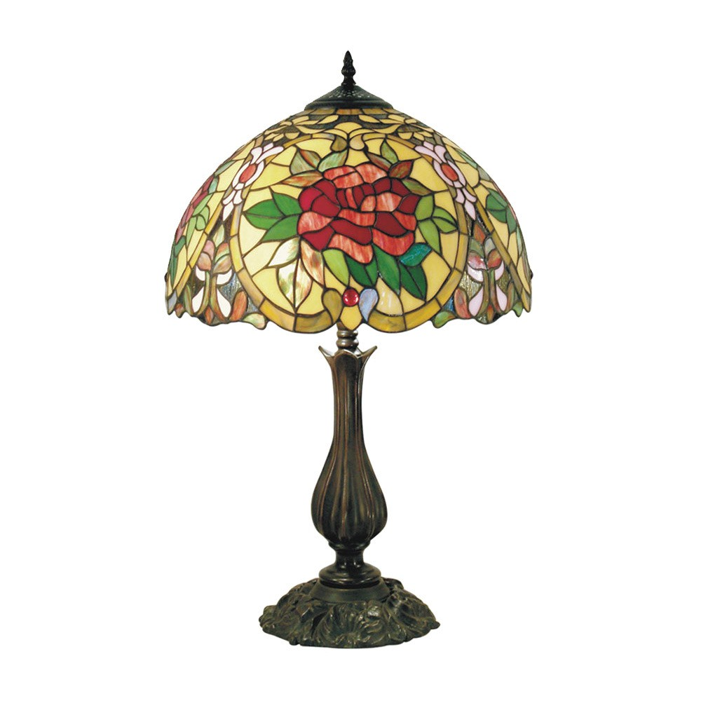 Red Camellia Tiffany Style Stained Glass Table Lamp, Medium