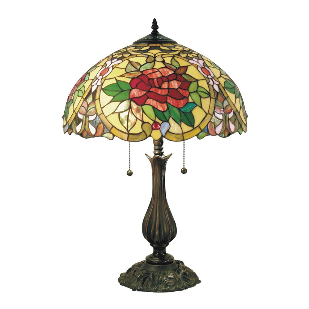 Red Camellia Tiffany Style Stained Glass Table Lamp, Large