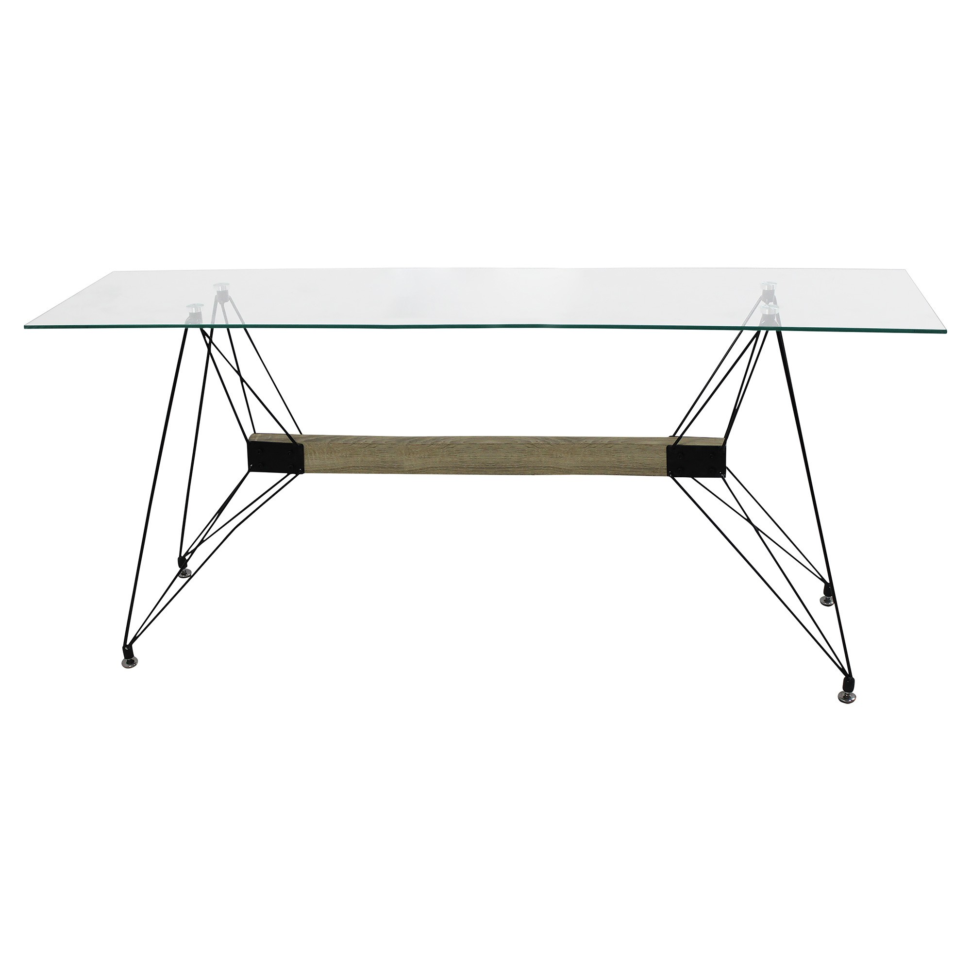 Nova Tempered Glass & Steel Dining Table, 160cm