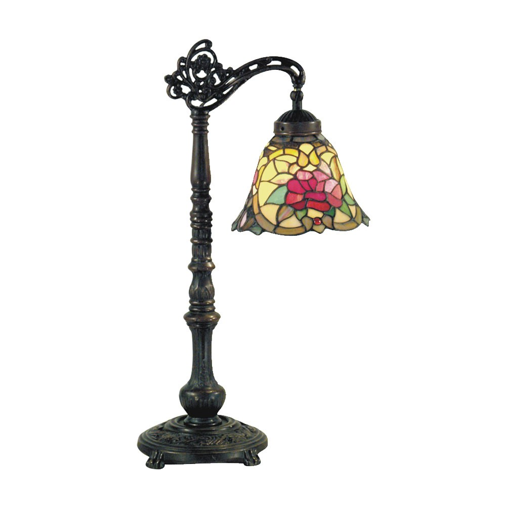 Red Camellia Tiffany Style Stained Glass Edwardian Table Lamp