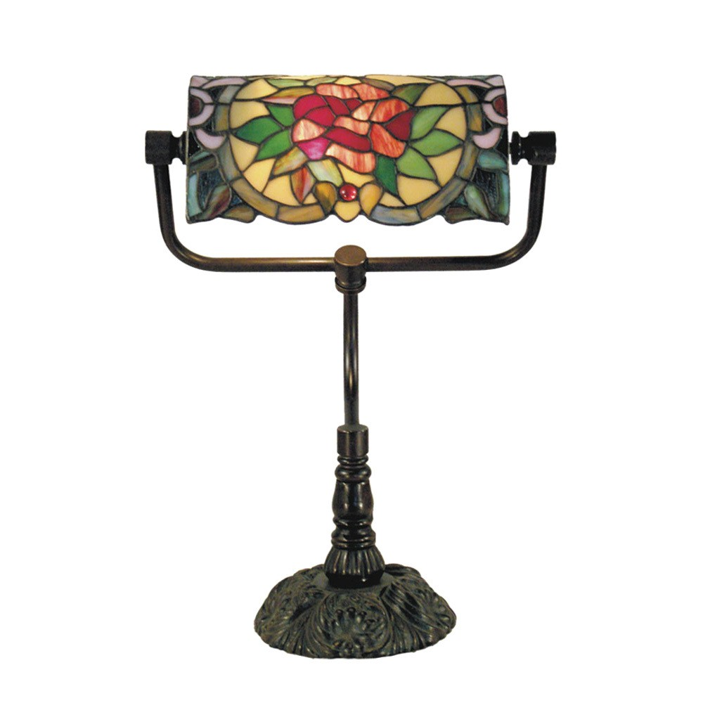 Red Camellia Tiffany Style Stained Glass Bankers Table Lamp