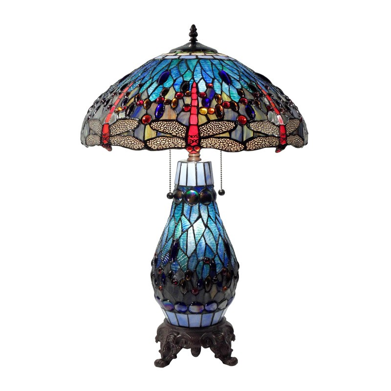 Fantasy Dragonfly Style Stained Glass Table Lamp with Glass Base, Red / Blue
