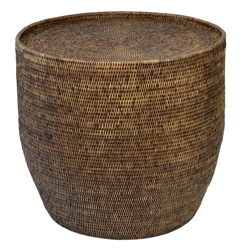 Savannah Rattan Round Side Table, Tobacco
